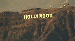 Aerial Hollywood sign Los Angeles USA film industry city Stock Footage