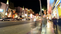 4K Hyperlapse of Hollywood Walk of Fame at Night -Zoom In- - stock footage