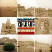 Jiaohe Ancient City in Xinjiang - stock photo