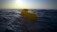 Lifeboat In Sea. Marine Rescue Emergency Stock Footage
