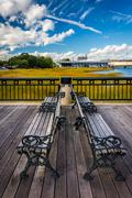 Benches on the fishing pier in charleston, south carolina. Kuvituskuvat