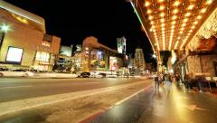 4K Hyperlapse of Hollywood Walk of Fame at Night -Full Frame- - stock footage