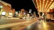 Stock Video Footage of 4K Hyperlapse of Hollywood Walk of Fame at Night -Full Frame-