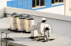 Ventilation systems on a roof Stock Photos