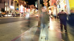 4K Hyperlapse of Hollywood Walk of Fame at Night -Close Up- Stock Footage