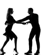 Couple woman man dancing dancers salsa rock silhouette Kuvituskuvat