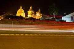 Cartagena at night with Santo Domingo Church Stock Photos