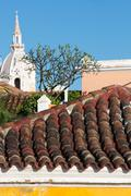Roof and the Iglesia Church of Santo Domingo Cartagena Stock Photos