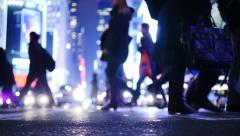 Magical light scene. city traffic lights. people walking. pedestrians crosswalk Stock Footage