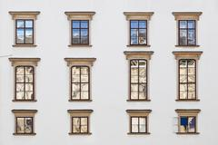 Old windows at hofburg facade in vienna Stock Photos
