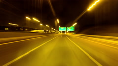 4K timelapse Hyperlapse highway night  driving pov no traffic Stock Footage