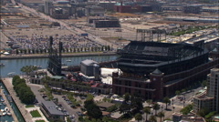 Stock Video Footage of Aerial San Francisco city USA AT&T Park baseball ballpark