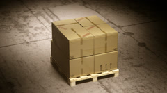 Stack Of Cardboard Boxes On Pallet - stock footage
