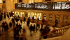 Commuters walking through city train station. time lapse of people rushing Stock Footage