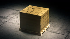 Stack Of Cardboard Boxes On Pallet Stock Footage