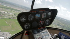 Stock Video Footage of A Robinson 44 Helicopter Cockpit