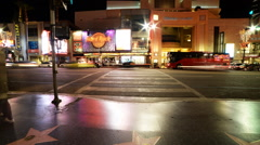 Time Lapse of Busy Crosswalk on Hollywood Blvd. at Night Stock Footage