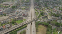 Aerial View of the I-10 Claiborne Expressway in New Orleans Stock Footage