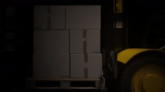Fork Lift Truck With Stack Of Boxes Stock Footage