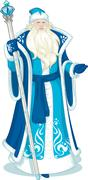 Russian Christmas Character Father Frost in Blue coat cartoon - stock illustration