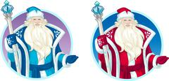 Russian Christmas Character Father Frost cartoon set Stock Illustration