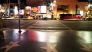 Stock Video Footage of 4K Time Lapse of Busy Crosswalk on Hollywood Blvd. at Night -Tilt Up-