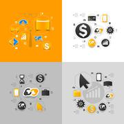 Set of sticker design. High-tech business concept - stock illustration