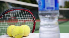 Sport and Healthy Life Concept. Tennis Racket with Balls. Stock Footage