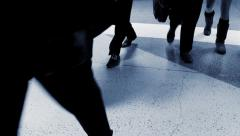 commuters going home from work. walking people background - stock footage