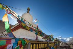 Temple with Everest mountain view in the Himalayas Stock Photos