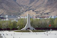 Monument to the Peaceful Liberation of Tibet in Lhasa Stock Photos