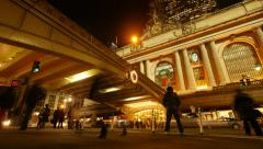 Building of grand central station at night. new york city. time lapse traffic Stock Footage