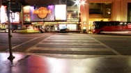 Stock Video Footage of 4K Time Lapse of Busy Crosswalk on Hollywood Blvd. at Night -Zoom Out-