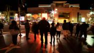 Stock Video Footage of 4K Time Lapse of Busy Crosswalk on Hollywood Blvd. at Night -Full Frame-