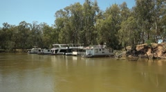 Houseboats on the Murray River Australia Stock Footage