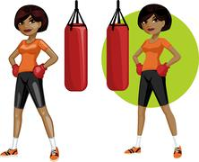 Cute young African American woman boxer - stock illustration
