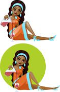 Cute young African American woman in cocktail dress filling wine glass - stock illustration