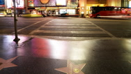 Stock Video Footage of 4K Time Lapse of Busy Crosswalk on Hollywood Blvd. at Night -Close Up-