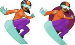 Cute young African American woman on snowboard - stock illustration