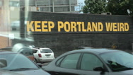 Stock Video Footage of Keep Portland Weird Wall Sign