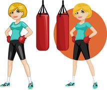 Cute young Caucasian woman boxer - stock illustration