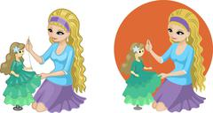 Stock Illustration of Cute young Caucasian woman hobbyist sewing gown for doll princess