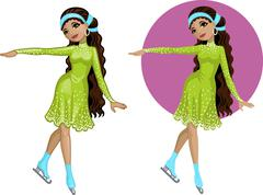 Cute young Indonesian woman figure skater Stock Illustration