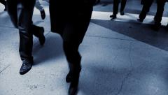 business people walking on street. pedestrians persons walkers - stock footage