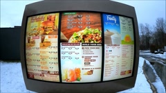 Wendys drive through menu screen Stock Footage