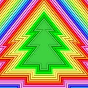 christmas tree shape composed of colorful metallic pipes - stock illustration