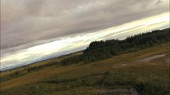 Aerial Alaska USA Wilderness tundra Plain vegetation Stock Footage