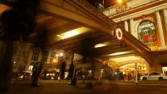 Motion time lapse of people and traffic at night. grand central station new york Stock Footage