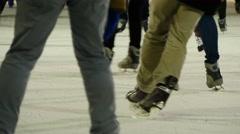 Ice skating rink background. people enjoying winter christmas holidays Stock Footage