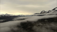 Aerial Alaska USA cloud mist Peak Mountains tundra Stock Footage